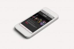 Spmartphone mit HOERBIGER Corporate Webseite, Kunde von GAXWEB Werbeagentur und Internetagentur Karlsruhe