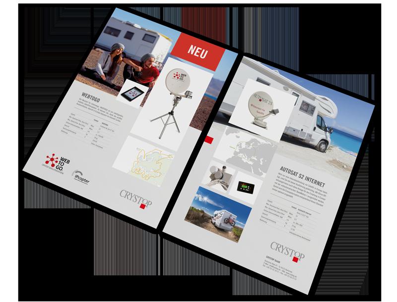 Crystop Satellitensysteme Broschüre WebtoGo, GAXWEB Werbeagentur und Internetagentur in Karlsruhe