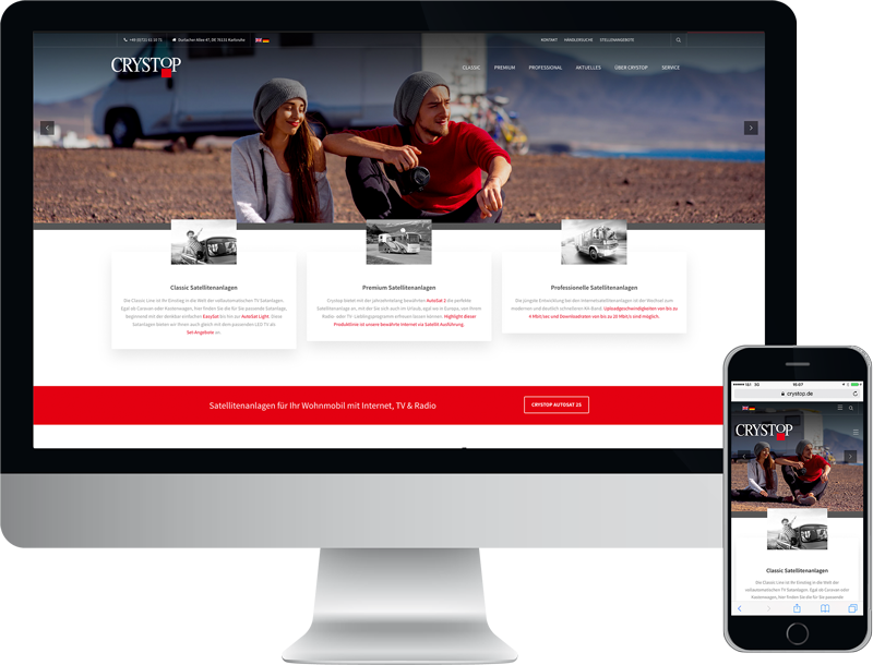 Monitor und Smartphone zeigt die corporate website von crystop mobile satellitensysteme, design, konzept, webentwicklung, GAXWEB Werbeagentur und Internetagentur in Karlsruhe