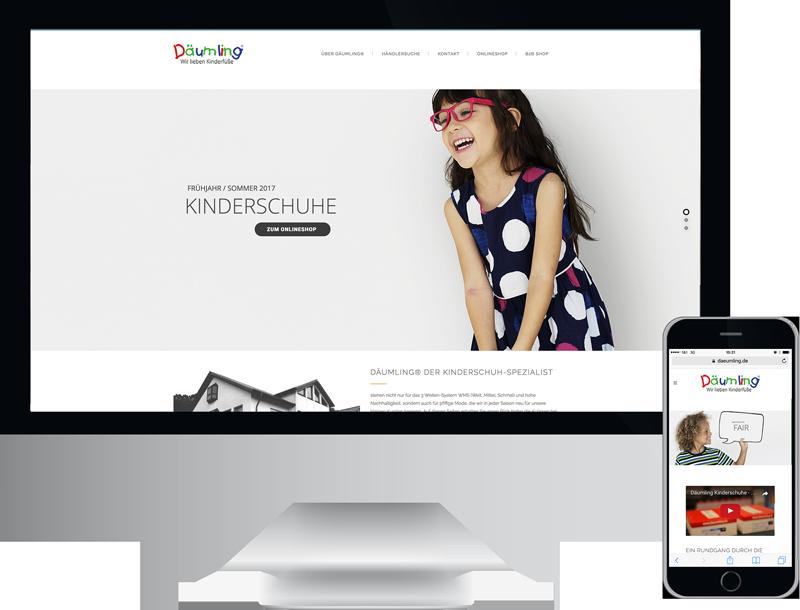 Däumling Kinderschuhe CMS Webseite, GAXWEB GmbH Werbeagentur und Internetagentur Karlsruhe