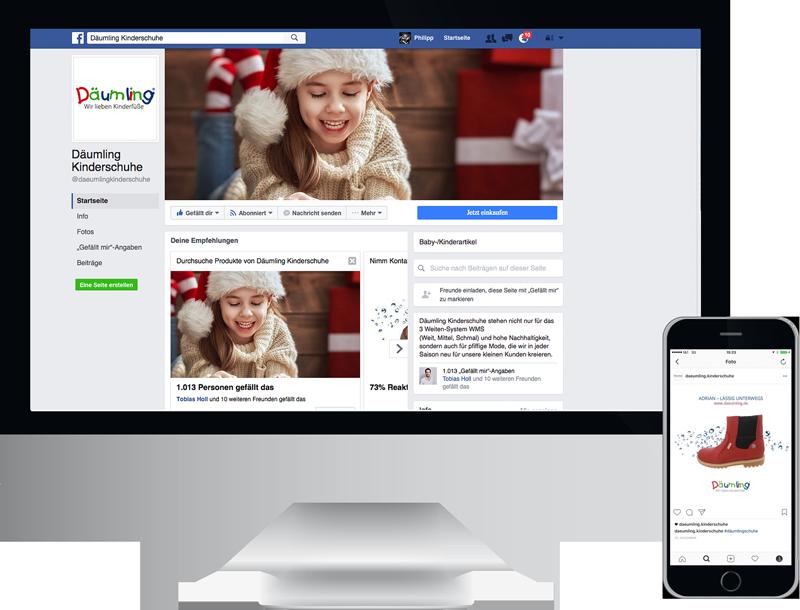 Monitor und Smartphone zeigt daeumling instagram facebook social media, design, konzept, webentwicklung, GAXWEB Werbeagentur und Internetagentur in Karlsruhe