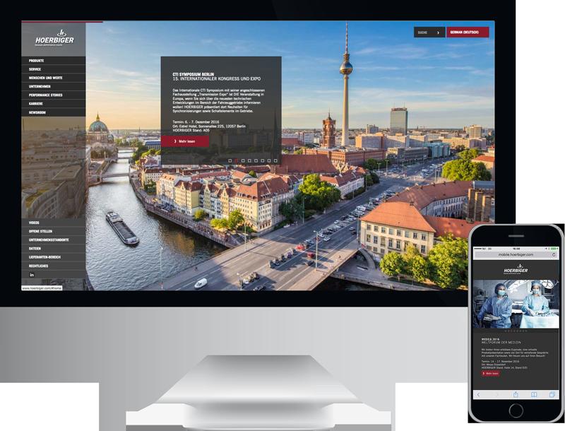 Monitor und Smartphone zeigt hoerbiger holding ag, corporate website, design, konzept, webentwicklung, GAXWEB Werbeagentur und Internetagentur in Karlsruhe