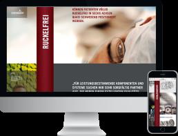 Monitor und Smartphone zeigt die Werbeline der HOERBIGER Holding AG, GAXWEB Werbeagentur und Internetagentur in Karlsruhe