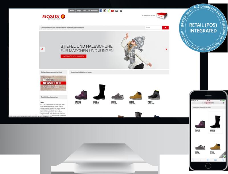ricosta pepino kinderschuhe onlineshop ecommerce Händler (POS) integration, GAXWEB Werbeagentur und Internetagentur in Karlsruhe