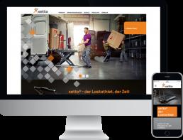 Monitor und Smartphone zeigt die corporate website von xetto®, Hubwagen, Lastenathlet, webentwicklung, GAXWEB Werbeagentur und Internetagentur in Karlsruhe
